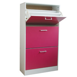 Rose Red Wooden Home Kabinet Sepatu 3 Tier Flip Drawers With PVC Handle