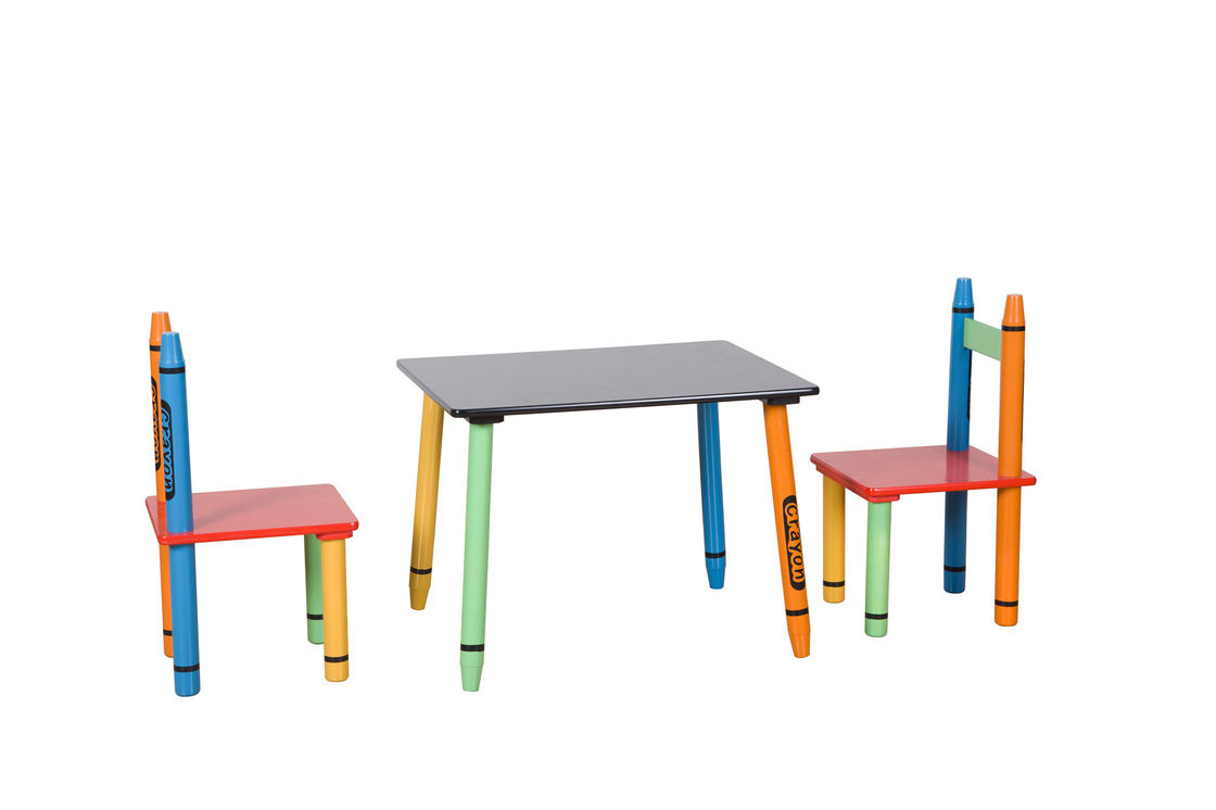 Childrens Wooden Crayon Themed Table And Chair Set , Easy to Assemble