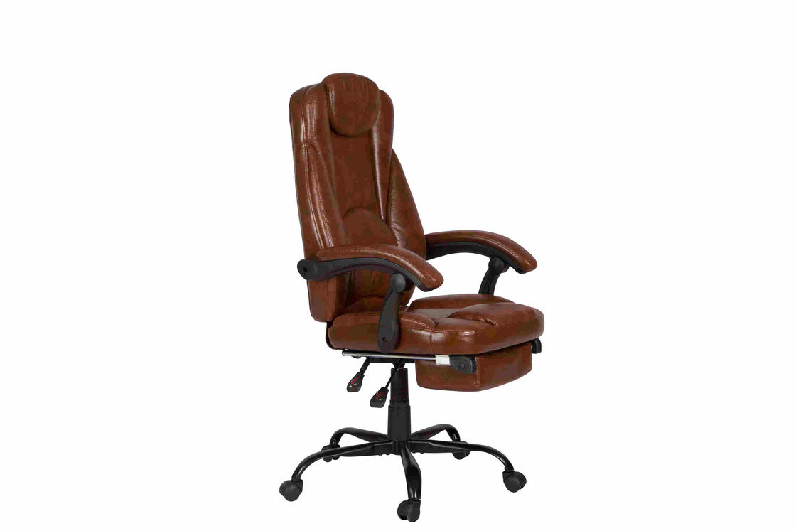 PU Brown Leather Reclining Office Chair With Footrest Retractable Reducing Tension